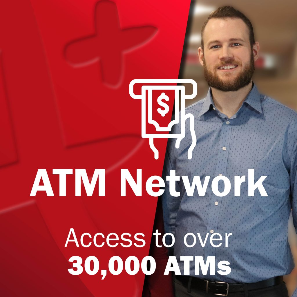 Young man smiling at camera with Dollar sign icon, ATM Network - Access to over 30000 ATMs