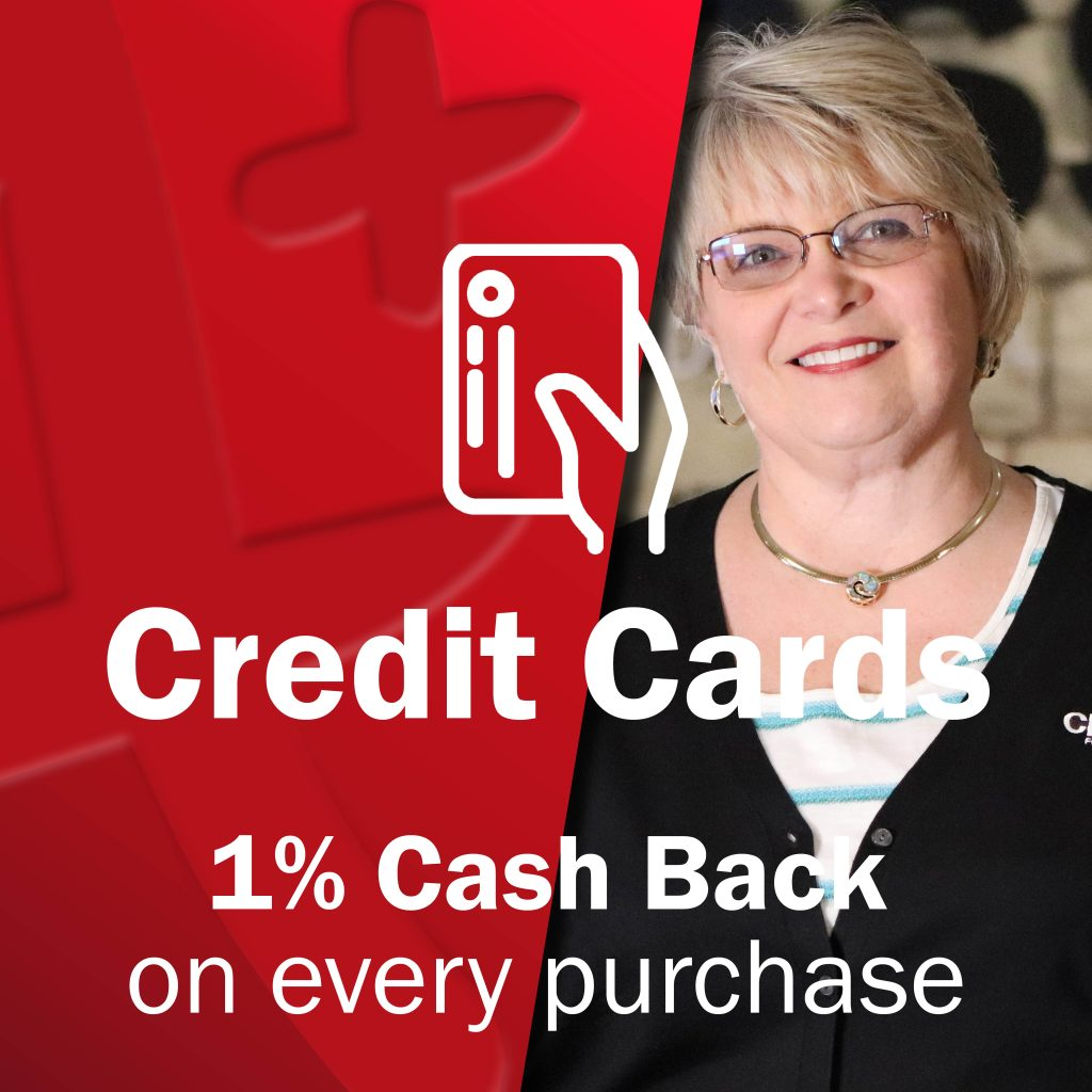 Middle aged woman Class Act employee smiling with handholidng card icon - Credit Cards - 1% Cash Back on every purchase