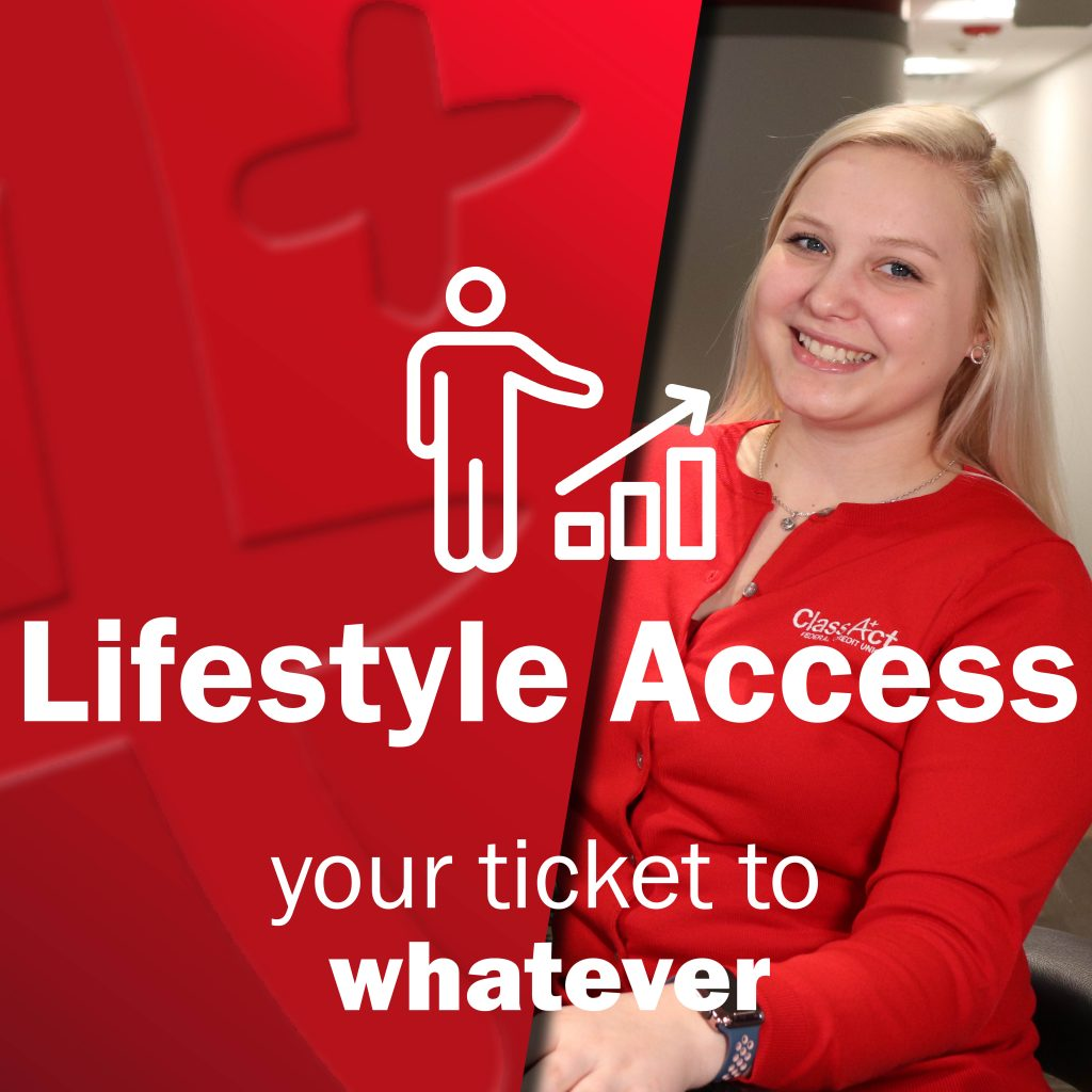 Young woman smiling - Class Act Employee - Lifestyle Access - Man next to bar char icon - your ticket to whatever
