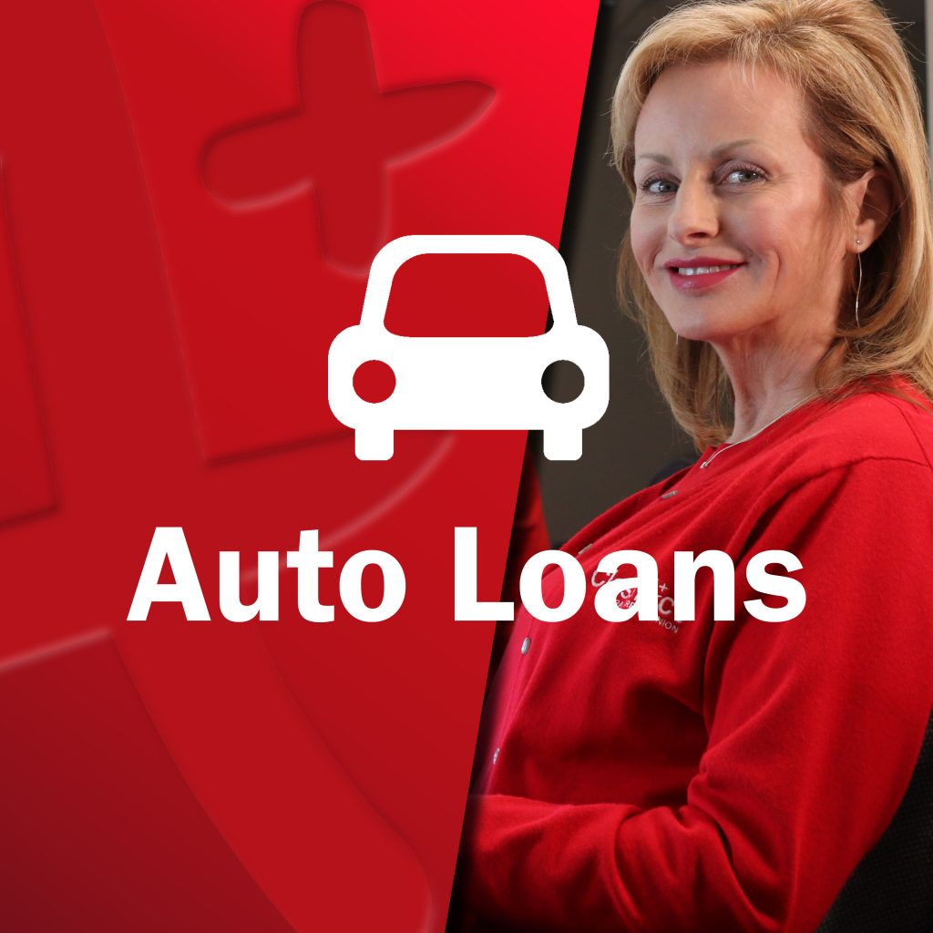 Young Class Act employee woman smiling with car icon - Auto Loans
