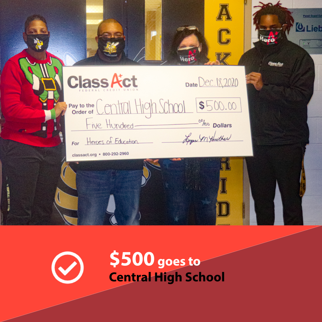 Central High School receiving a $500 check from Class Act