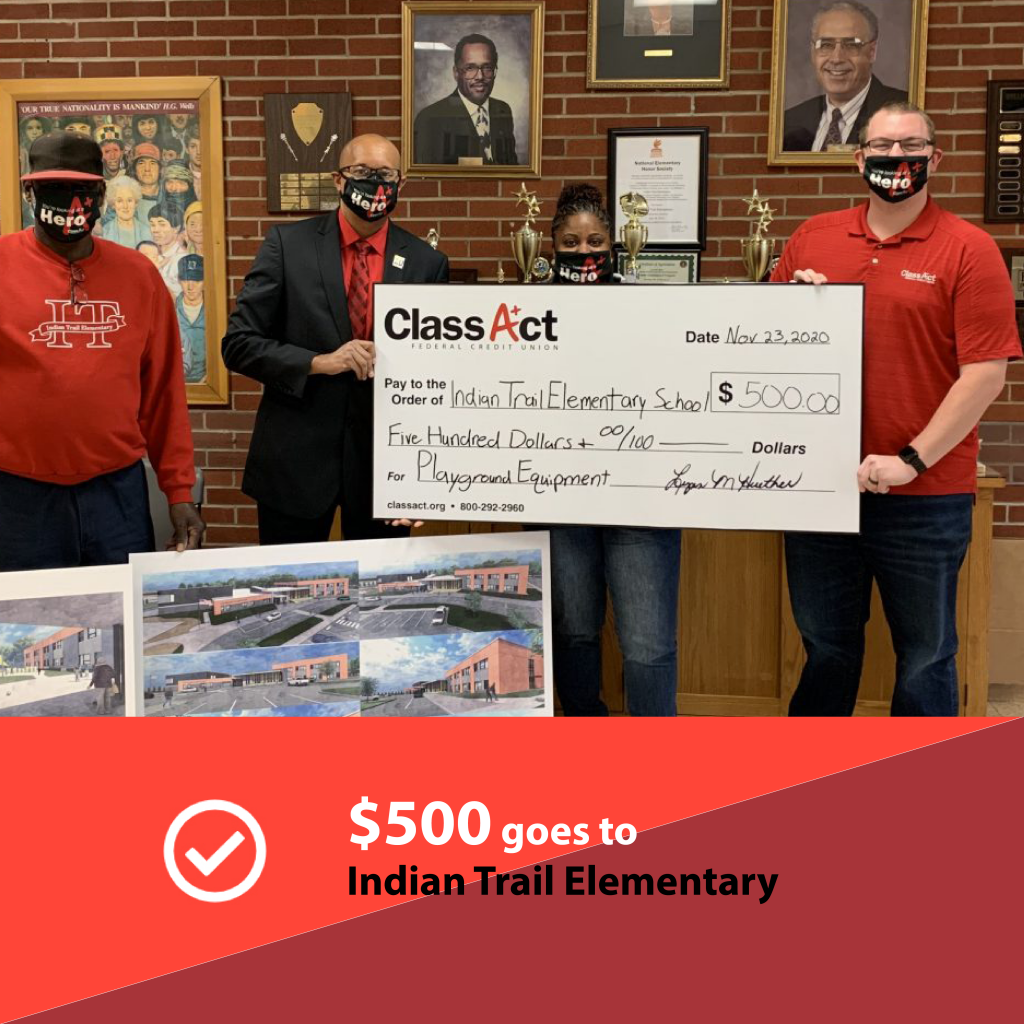 Indian Trail Elementary receiving a $500 check from Class Act